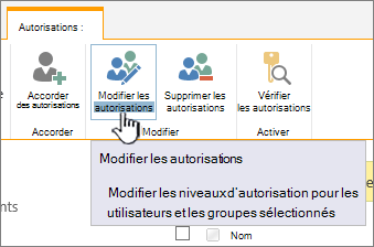 Cliquez sur Modifier les autorisations pour modifier le niveau d'autorisation