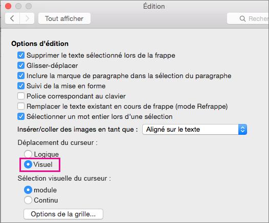 Options de déplacement du curseur dans la boîte de dialogue Modification