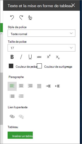 Ouvrez le texte et la mise en forme de page de tableau