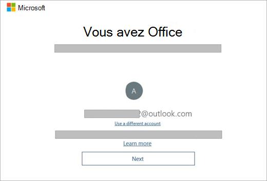 Écran qui s'affiche lorsque vous achetez un nouvel appareil qui inclut une licence Office. Cet écran indique que Office avez trouvé votre compte Microsoft existant.