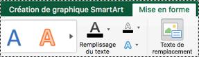 Bouton texte de remplacement pour les graphiques SmartArt dans Excel pour Mac