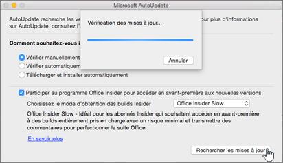 Vérification des mises à jour InsiderLent sur Mac