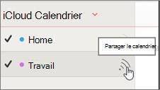 Icône de calendrier partager dans iCloud