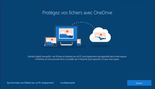 Capture d'écran de Protection de vos fichiers avec OneDrive dans la configuration Windows 10