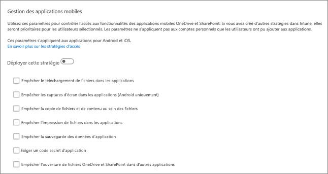 Gérer les applications mobiles OneDrive et SharePoint dans le centre d'administration OneDrive