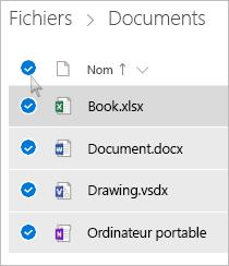 Capture d'écran de la sélection de tous les fichiers et dossiers dans OneDrive