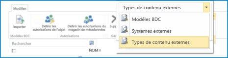 Capture d'écran de la sélection d'affichage pour les vues des catalogues de données BCS.