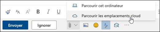 Capture d'écran du menu Joindre avec emplacements Cloud sélectionnés
