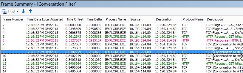 Latence générale dans Netmon, avec la colonne Netmon default Time Delta ajoutée à la fenêtre Frame Summary