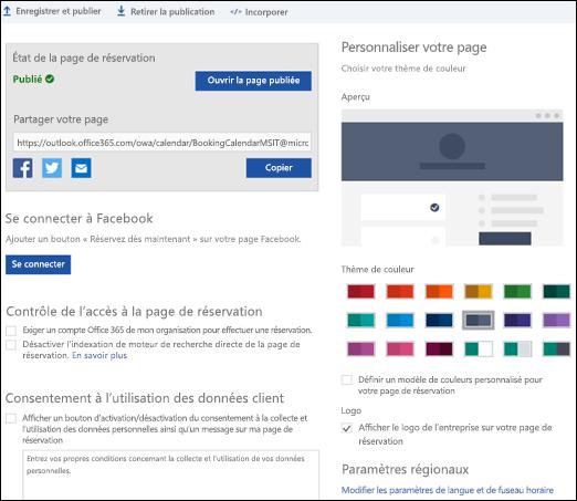 Page de réservation avec une nouvelle section appelée «personnaliser votre page».
