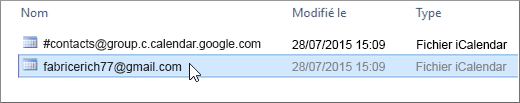 Sélectionnez le fichier se terminant par gmail.com à importer.