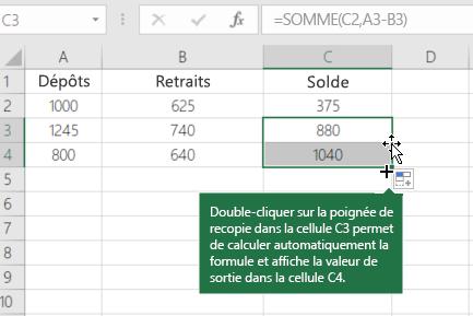 Exemple de calcul d'un solde en cours d'exécution