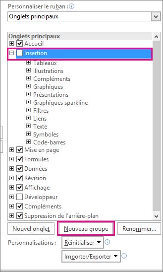 Bouton Nouveau groupe dans les options de personnalisation du ruban dans Excel