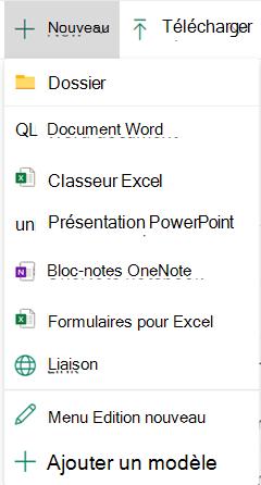 Pour créer un fichier dans une bibliothèque de documents, ouvrez le menu nouveau, puis sélectionnez le type de fichier souhaité.