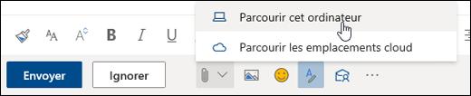 Capture d'écran du menu Joindre avec ordinateur sélectionné