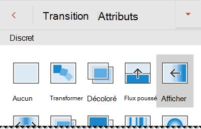 Options d'effet de transition dans PowerPoint pour les téléphones Android.