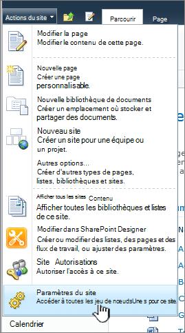 Paramètres du site dans le menu actions du site