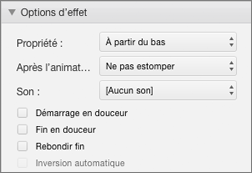 Modifier le comportement de l'animation avec des options d'effets dans le volet Animations