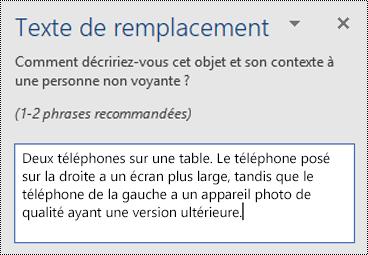 Volet Texte de alt avec un exemple de texte de alt dans Word pour Windows.