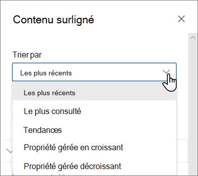 Options Trier par pour le composant WebPart contenu en surbrillance dans l'interface SharePoint moderne