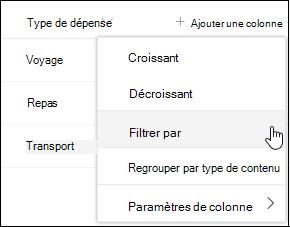 Option Filtrer les en-tête de colonnes SharePoint par option de menu