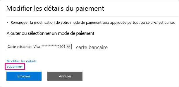 Capture d'écran du menu volant «Modifier les détails du paiement» avec le lien Supprimer mis en évidence