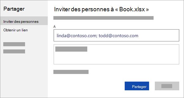 Entrez l'adresse de messagerie des personnes avec lesquelles vous voulez collaborer ou obtenez un lien de partage du fichier.