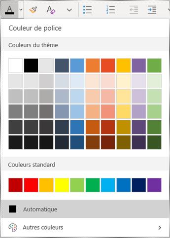 Menu Couleur de texte dans l'application OneNote pour Windows10