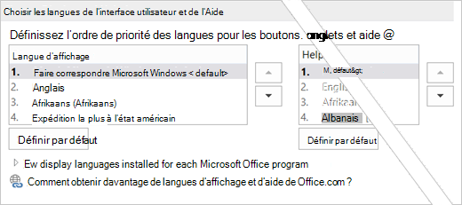 Office 2016 - Définir la langue choisir
