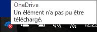 icône de croix rouge quand OneDrive ne peut pas charger