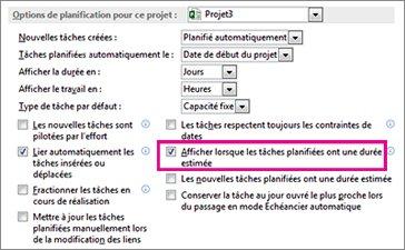 Boîte de dialogue Options, onglet Échéancier, zone Options de planification pour ce projet