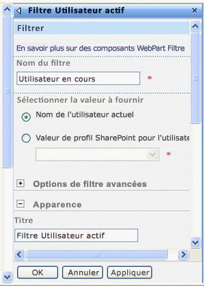 Volet d'outils du composant WebPart Filtre Utilisateur actuel
