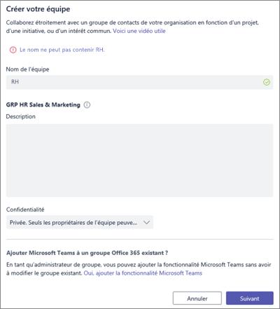 Capture d'écran: Stratégie d'attribution de nom de groupe dans Microsoft Teams bloqués exemple