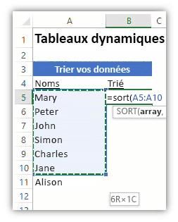 capture d'écran d'une feuille de calcul Excel où l'on voit une liste de données et une formule utilisant la fonction TRI pour trier la liste.