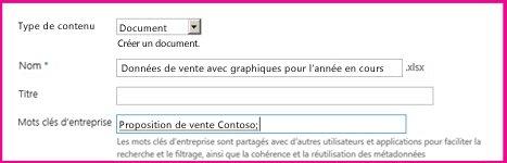 Les utilisateurs peuvent ajouter des mots clés dans la boîte de dialogue des propriétés du document.