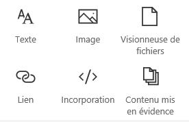 Capture d'écran du menu Composant WebPart dans SharePoint.