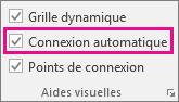 Activez ou désactivez l'option Connexion automatique dans l'onglet Affichage pour activer ou désactiver la connexion automatique.