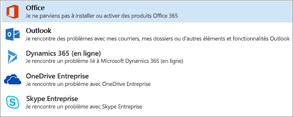 Affiche l'option Office en surbrillance dans l'Assistant Support et récupération