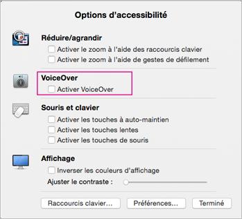 Options d'accessibilité