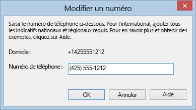 Exemple de numéro de téléphone Lync au format international