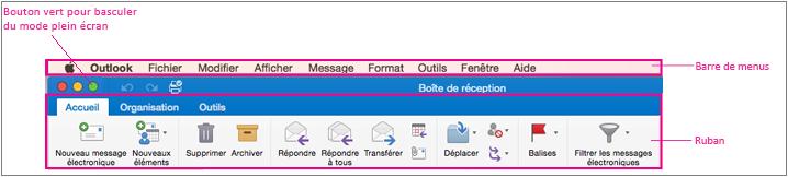 Barre de menus dans Outlook 2016 pour Mac