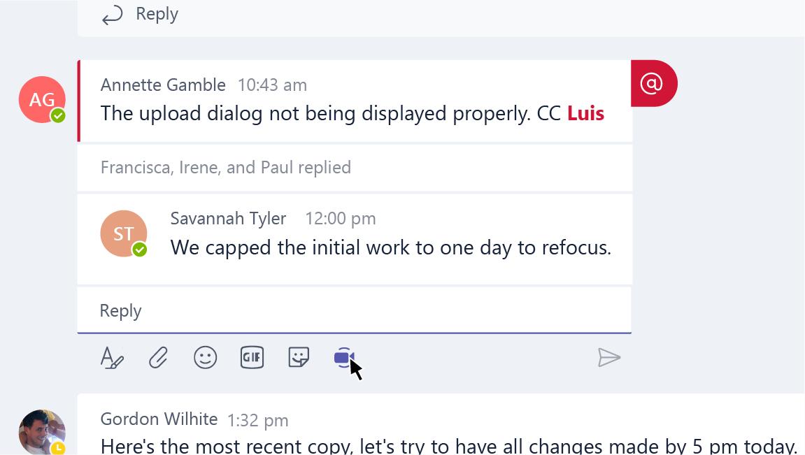 Boutons Développer, Sélectionner un fichier, Emoji, Giphy, Autocollant et Conférence maintenant dans la zone de rédaction d'un message