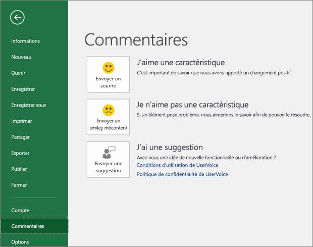 Cliquez sur Fichier > Votre avis pour faire part de vos commentaires ou suggestions à propos de PowerPoint à Microsoft