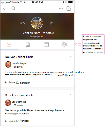 Mode conversation d'un groupe dans l'application mobile groupes Outlook