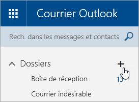 Capture d'écran du bouton Créer un dossier dans Outlook.com.