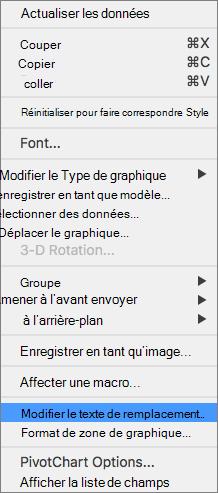 Menu 365 de Excel modifier un texte de remplacement pour les graphiques croisés dynamiques