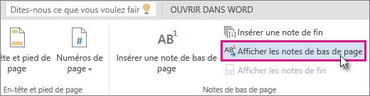 Afficher le bouton Pieds de page dans WordOnline