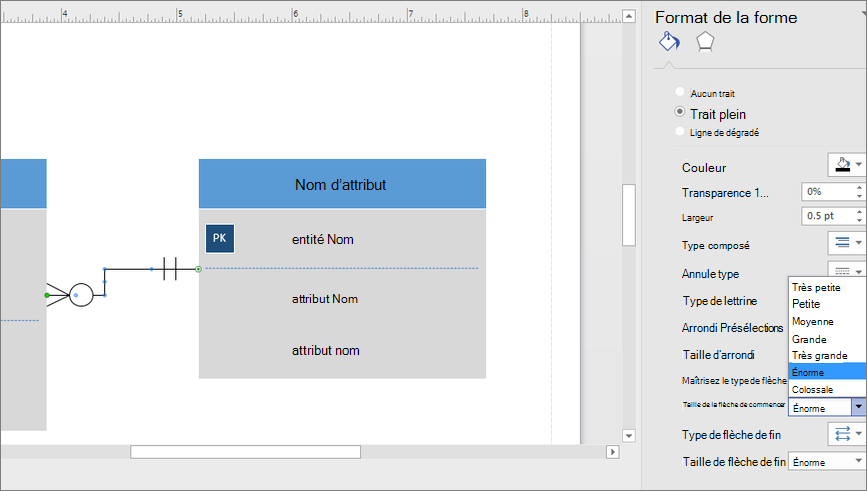 Cliquez sur taille de la flèche de début ou la taille de flèche de fin pour modifier la taille des symboles de début et de fin.