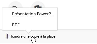 Les options de pièce jointe pour envoyer une présentation par courrier électronique sont: présentation ou un fichier PDF