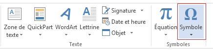 Dans l'onglet Insertion, cliquez sur Symbole.
